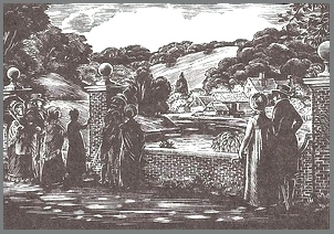 Illustration by Joan Hassall, View of Abbey-Mill Farm, Emma, Folio Society, London(1961)