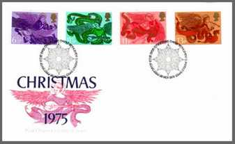 Image of the Christmas First Day Covered, issued in Great Britian(1975)