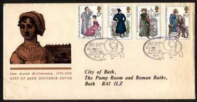 Image of the Jane Austen First Day Cover issued by the city of Bath (1975)