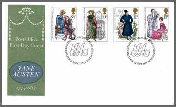 Image of Jane Austen First Day Cover designed by Jeffery Matthews (1975)
