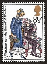Illustration by Barbara Brown, Emma & Mr. Woodhouse, Bicentenary Stamp (1975)