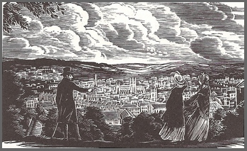 Illustration by Joan Hassall, View of Bath from Beechen Cliff, Folio Society, London,(1960)