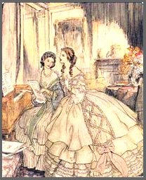 Illustration of Marianne & Elinor Dashwood, Cover of Sense & Sensibility, Books on Tape