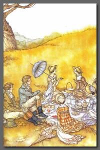 """Illustration by Miroot Puttapipat, """"Boxhill Picnic"""", Emma, Chapter44"""