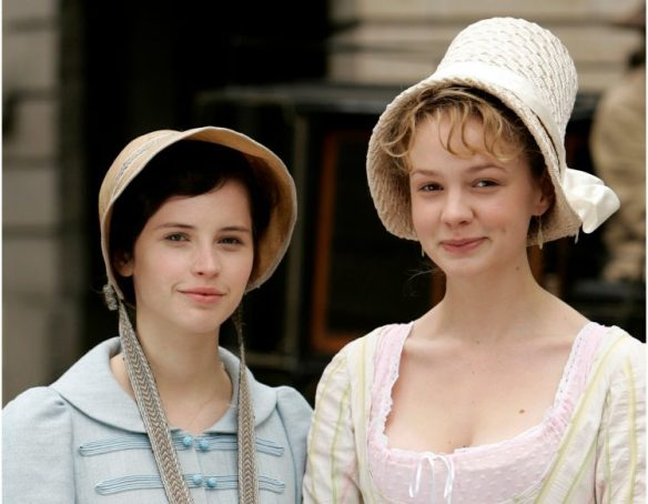 Felicity Jones as Catherine Morland and Carey Mulligan as Isabella Thorpe in Northanger Abbey 2007