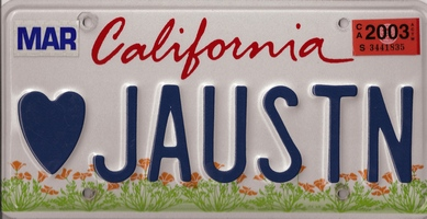 Image of Jane Austen license plate