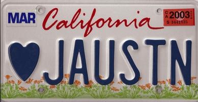 Image of Jane Austen licenseplate