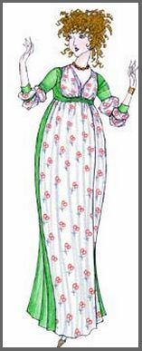 Illustration of Catherine Morland paper doll, by Donald Hendricks, Legacy Designs