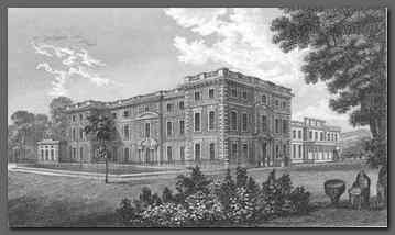 Image of a steel engraving by Nathaniel Whittock of Newby Hall Yorkshire, circa 1831