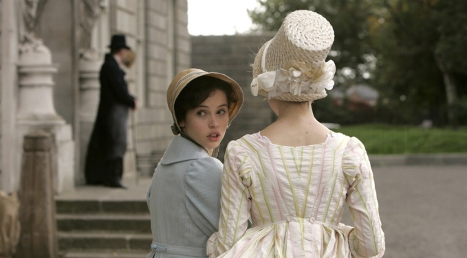 Felicity Jones as Catherine Morland and Carey Mulligan as Isabella Thorpe in Northanger Abbey (2007)