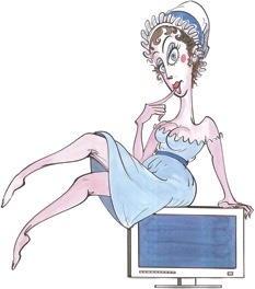 Illustration of (that sex pot) Jane Austen, by Gerald Scarfe, The New Yorker magazine, 18 Jan2008