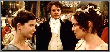 Image of Lizzy & Charlotte dishing Darcy at the Netherfield Ball, Pride & Prejudice, (1995)