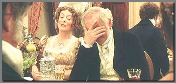 Image of Mr. Bennet in despair at the Netherfield Ball, Pride & Prejudice, (1995)