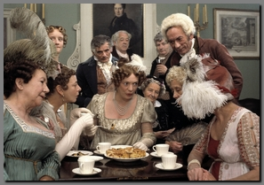 Image of Mrs. Bennet gossiping at the Netherfield Ball, Pride & Prejudice, (1995)