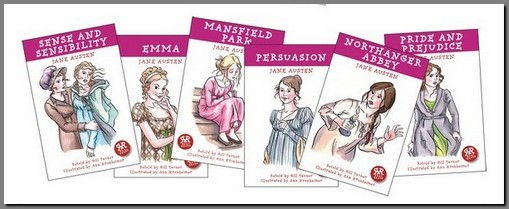 Image of banner of covers of Austen Retold, by Gill Tavner, Real Reads, (2008)