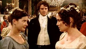 Image of Mr. Darcy, Charlotte Lucas and Elizabeth Bennet, Pride and Prejuidce, (1995)