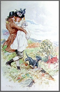 Illustration by HM Brock of Willoughby rescuing Marianne, (1898)