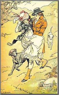 Illustration by HM Brock of Willoughby rescuing Marianne,1898