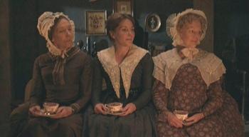 Image of Cranford ladies, Miss Deborah (Eileen Atkins), Mary Smith (Lisa Dillon), and Miss Matty (Judi Dench)