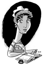 Illustration of Jane Austen by J. Bone