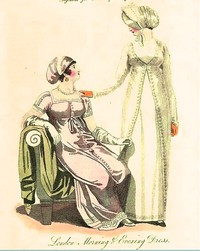 Illustration of a Morning & Evening Dress from Ladies Magazine (1811)