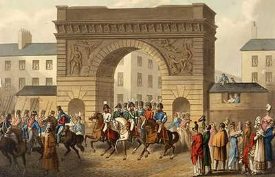 Illustration of the Allies entering Paris after Napoleons defeat at Waterloo, October 1815