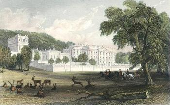 Engraving of Chatsworth House, Derbyshire, (1844)