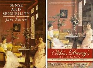 Image of the covers of Sense and Sensibility, Signet (1980) and Mrs. Darcy\'s Dilemma, Sourcebook (2008)