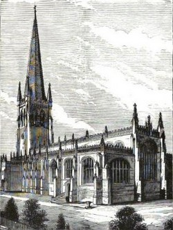 Steel engraving of Wakefield Cathedral, Yorkshire