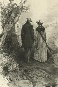 Illustration of Col. Fitzwilliam and Elizabeth Bennet, by Isabel Bishop, Pride and Prejudice, Dutton (1976)