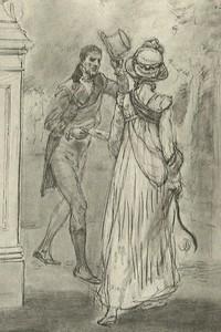 Illustration of Mr. Darcy & Elizabeth Bennet, by Isabel Bishop, Pride and Prejudice, Dutton (1976)