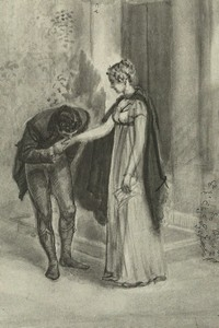Illustration of Mr. Wickham and Elizabeth Bennet, by Isabel Bishop, Pride and Prejudice (1976)