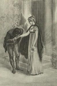 Illustration of Mr. Wickham and Elizabeth Bennet, by Isabel Bishop, Pride and Prejudice (1976)