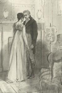 Illustration of Jane Bennet and Mr. Bingley, by Isabel Bishop, Pride and Prejudice, Dutton (1976)