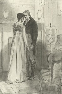 Illustration of Jane Bennet and Mr. Bingley, by Isabel Bishop, Pride and Prejudice, Dutton (1976)