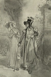 Illustration of Elizabeth Bennet and Lady Catherine, by Isabel Bishop, Pride and Prejudice, Dutton (1976)