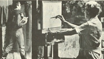 Photo of Isabel Bishop sketching