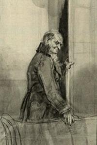 Illustration of Mr. Bennet, by Isabel Bishop, Pride and Prejudice, Dutton (1976)