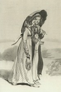 Illustration of Kitty and Lydia Bennet, by Isabel Bishop, Pride and Prejudice, Dutton (1976)