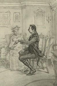 Illustration of Mr. Collins, by Isabel Bishop, Pride and Prejudice, Dutton (1976)
