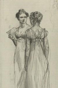 Illustration of Elizabeth Bennet and Caroline Bingley, by Isabel Bishop, Pride and Prejudice, Dutton (1976)