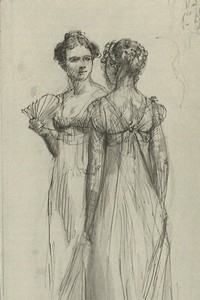 Illustration of Elizabeth Bennet and Caroline Bingley, by Isabel Bishop, Pride and Prejudice, Dutton (1976)
