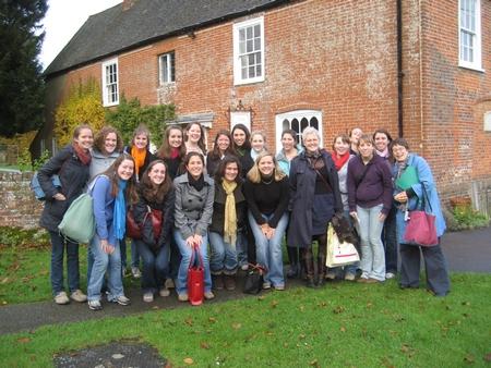 Virgina Claire Tharrington and her Austen class group at Chawton (2008)