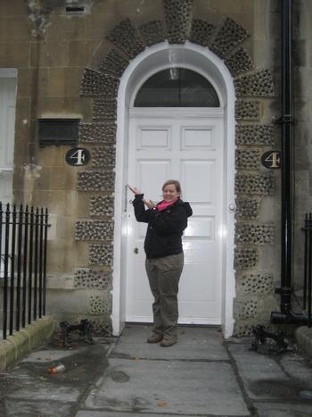 Virginia visiting Jane Austen's home at 4 Sydney Place, Bath (2008)