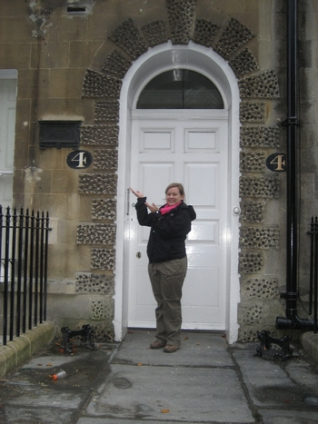 Virginia visiting Jane Austen's home at 4 Sydney Place, Bath (2008)