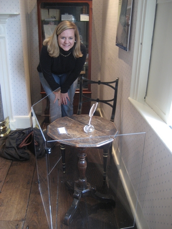 Virginia Claire Tharrington visiting Jane Austen's desk at Chawton Cottage, Hampshire (2008)