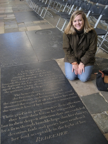 Virginia Claire Tharrington visiting Jane Austen's grave at Winchester Cathedral (2008)