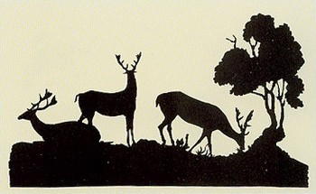 Silhouette by James Edward Austen-Leigh, deer in parkland
