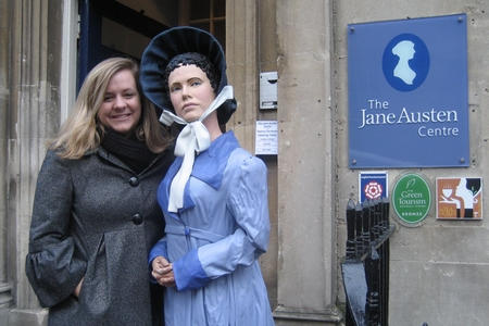 Virginia Claire Tharrington and Jane Austen (statue) at the Jane Austen Centre, Bath (2008)