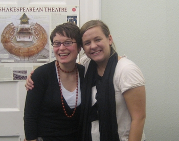 Virginia Claire Tharrington and her Jane Austen class instructor Felicity James (2008)